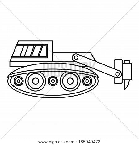 Excavator with hydraulic hammer icon in outline style isolated vector illustration