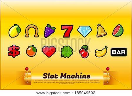 slot machine sign symbols set vector illustration