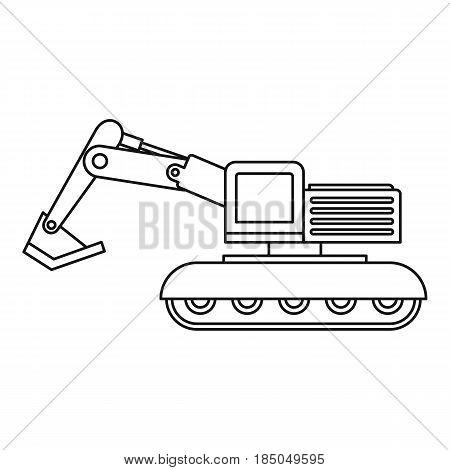 Excavator icon in outline style isolated vector illustration