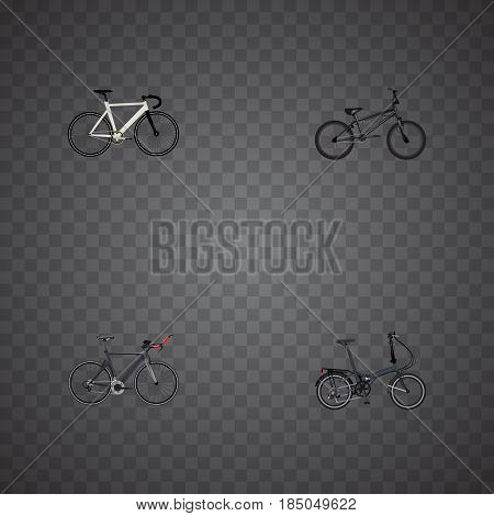 Realistic Folding Sport-Cycle, Road Velocity, Extreme Biking And Other Vector Elements. Set Of Bike Realistic Symbols Also Includes Bicycle, Bmx, Bike Objects.