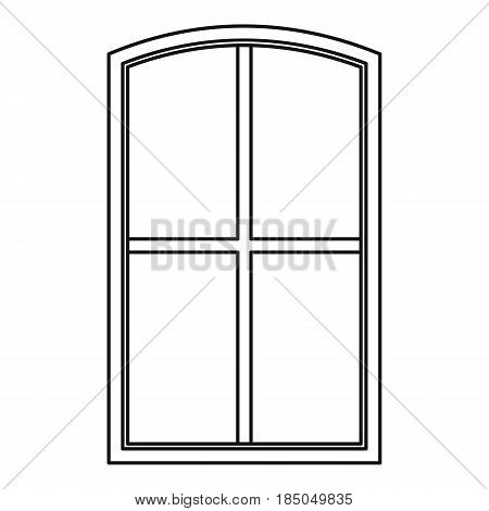 Wooden window icon in outline style isolated vector illustration