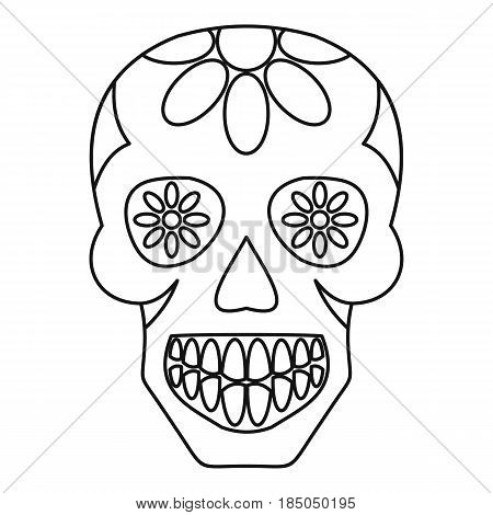 Sugar skull, flowers on the skull icon in outline style isolated vector illustration
