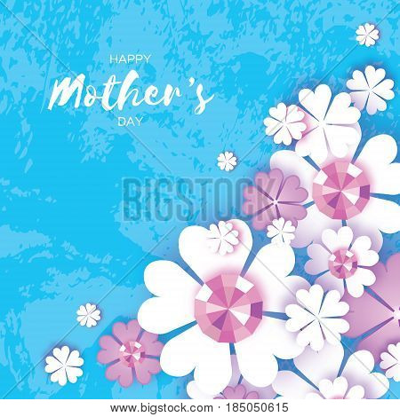 Happy Mothers Day. White Floral Greeting card with Brilliant stones. Women's Day with Paper cut flower. Floral holiday. Beautiful bouquet. Blue background. Vector illustration.