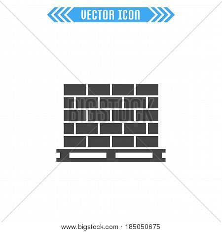 Pallet with bricks. Vector sign symbol. Isolated on white background.