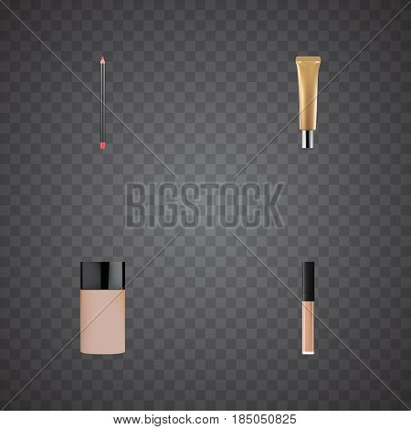 Realistic Collagen Tube, Concealer, Mouth Pen And Other Vector Elements. Set Of Greasepaint Realistic Symbols Also Includes Cosmetics, Foundation, Lip Objects.
