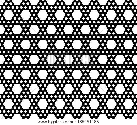 Vector monochrome texture, simple geometric black & white seamless pattern with different sized hexagons. Repeat abstract modern background. Modern design for textile, decor, print, textile, cover