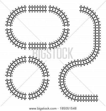 Railway tracks construction elements. Vector sign symbol. Isolated on white background.