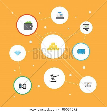 Flat Growing Chart, Verdict, Till And Other Vector Elements. Set Of Banking Flat Symbols Also Includes Payment, Growing, Purse Objects.