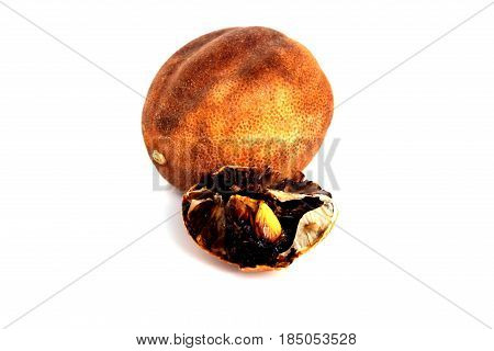 iranian dried limes isolated on white background persian cooking ingredients.