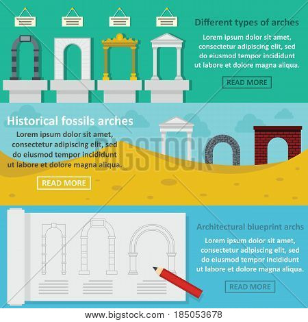Arches types banner horizontal concept set. Flat illustration of 3 arches types vector banner horizontal concepts for web