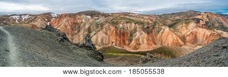 Panoramic View Of Colorful Mountains Landmannalaugar