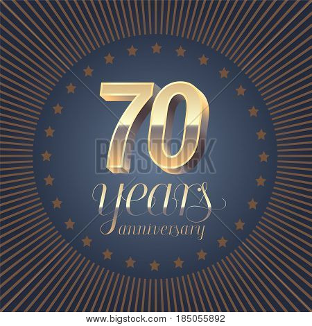 70 years anniversary vector logo. Decoration design element with medal and 3D number for 70th anniversary