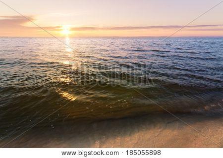 sunrise on the beach / summer morning photo bank of the Dnieper Ukraine