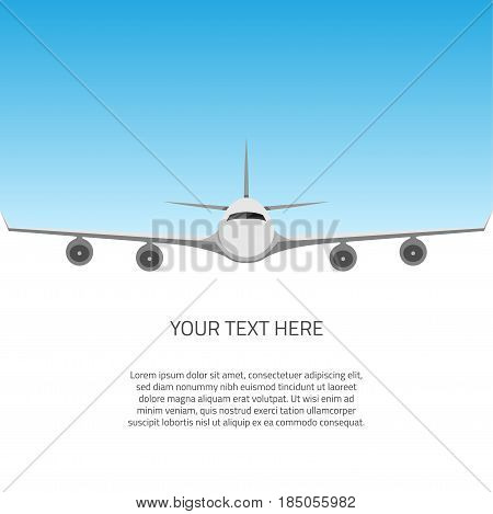 A postcard with a plane flying in the sky divided into halves with an area for text. Advertising brochure abstract background vector illustration.
