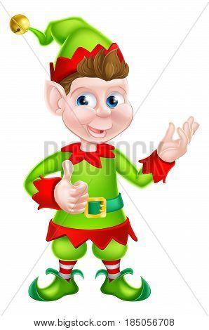 Happy cartoon Christmas Elf or one of Santa s Christmas helpers
