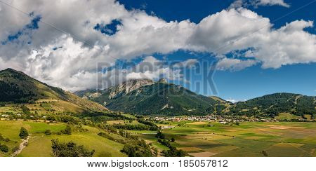 Summer view of the village of Ancelle in the Champsaur Valley. Hautes Alpes Southern French Alps France