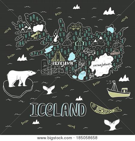 Iceland hand drawn cartoon map. Vector illustration with travel landmarks animals and natural phenomena