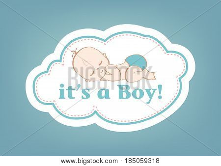 It's a Boy!, beautiful card to celebrate the new family member. In a pastel blue background!