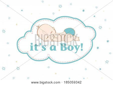 It's a Boy! Beautiful card to celebrate the new family member. In a pastel stars background!