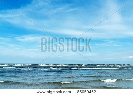 Beach and waves seen at the Baltic Sea in Germany