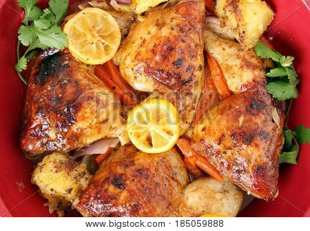 Roasted chicken dinner casserole with vegetables.