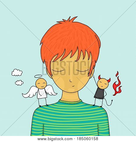 Cartoon boy in doubt with small angel and devil on his shoulders trying to influence him.