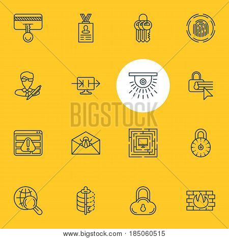 Vector Illustration Of 16 Protection Icons. Editable Pack Of Finger Identifier, Browser Warning, Send Information And Other Elements.