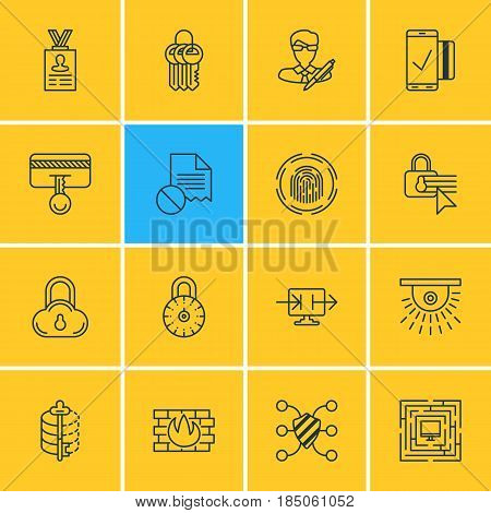 Vector Illustration Of 16 Data Protection Icons. Editable Pack Of Account Data, Confidentiality Options, Key Collection And Other Elements.
