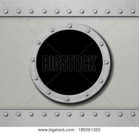 white metal ship porthole window 3d illustration