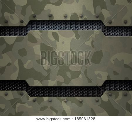 Grunge military metal background with camouflage and rivets 3d illustration