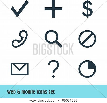 Vector Illustration Of 9 User Icons. Editable Pack Of Access Denied , Handset, Plus Elements.
