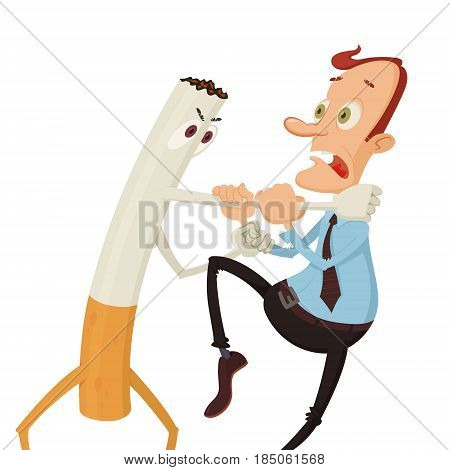 Cigarette strangling a man. Fighting with bad habit