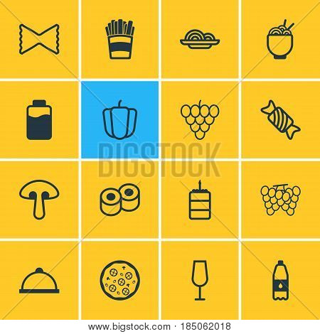 Vector Illustration Of 16 Food Icons. Editable Pack Of Goblet, Potato, Pizzeria And Other Elements.