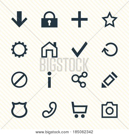 Vector Illustration Of 16 User Icons. Editable Pack Of Plus, Conservation, Info And Other Elements.