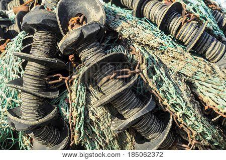 Tangle of fishing net aboard New Bedford trawler