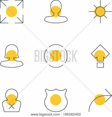 Vector Illustration Of 9 UI Icons. Editable Pack Of Man Member, Sunshine, Banned Member And Other Elements.
