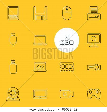 Vector Illustration Of 16 Laptop Icons. Editable Pack Of Memory Chip, Web Camera, Notebook And Other Elements.