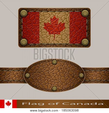 Label of a flag of Canada. Set stylized as leather of objects.
