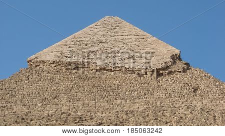 Top of the pyramid of Khafra in giza.