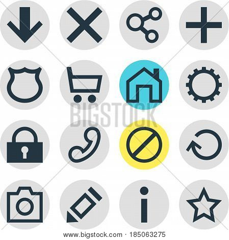 Vector Illustration Of 16 Interface Icons. Editable Pack Of Renovate, Pen, Mainpage And Other Elements.
