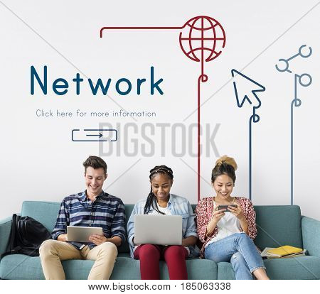People connected with global communications network