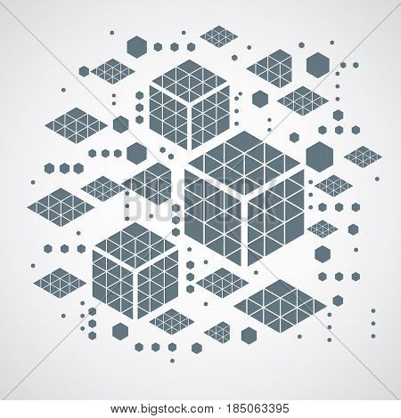 Vector abstract gray background created in Bauhaus retro style. Modern geometric composition can be used as templates and layouts. Engineering technological backdrop made with honeycombs.