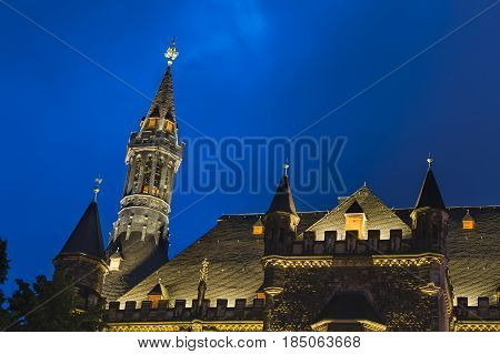 Old Aachen Town Hall Detail At Night
