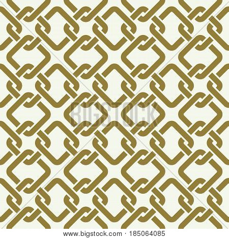 Graphic simple splicing ornamental tile vector repeated pattern made using interlace squares. Vintage art abstract seamless texture can be used in textile design.