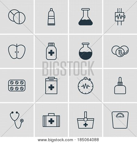 Vector Illustration Of 16 Medicine Icons. Editable Pack Of Pills, Tube, Pulse And Other Elements.
