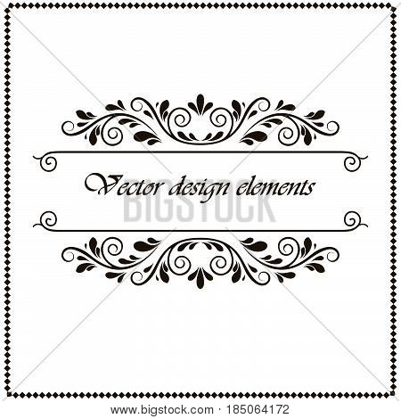 calligraphy penmanship curly baroque frame black border