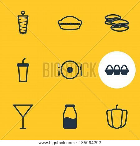 Vector Illustration Of 9 Meal Icons. Editable Pack Of Cruet, Meat, Martini And Other Elements.