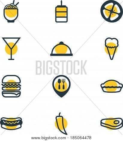 Vector Illustration Of 12 Food Icons. Editable Pack Of Martini , Sandwich, Streetfood Elements.