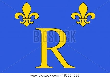 Flag of Riom is a commune town in the Puy-de-Dôme department in Auvergne in central France. Vector illustration