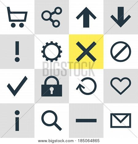 Vector Illustration Of 16 User Icons. Editable Pack Of Renovate, Padlock, Confirm And Other Elements.